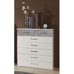 Commode contemporaine 6 tiroirs blanc/chêne clair Fabio