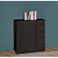 Commode design 1 porte/4 tiroirs coloris graphite Davina
