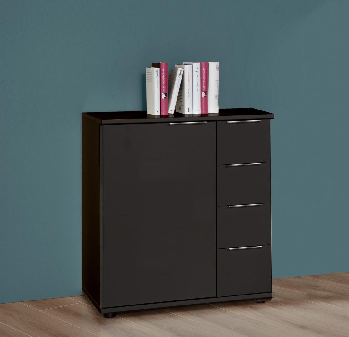 Commode design 1 porte/4 tiroirs coloris graphite Davina