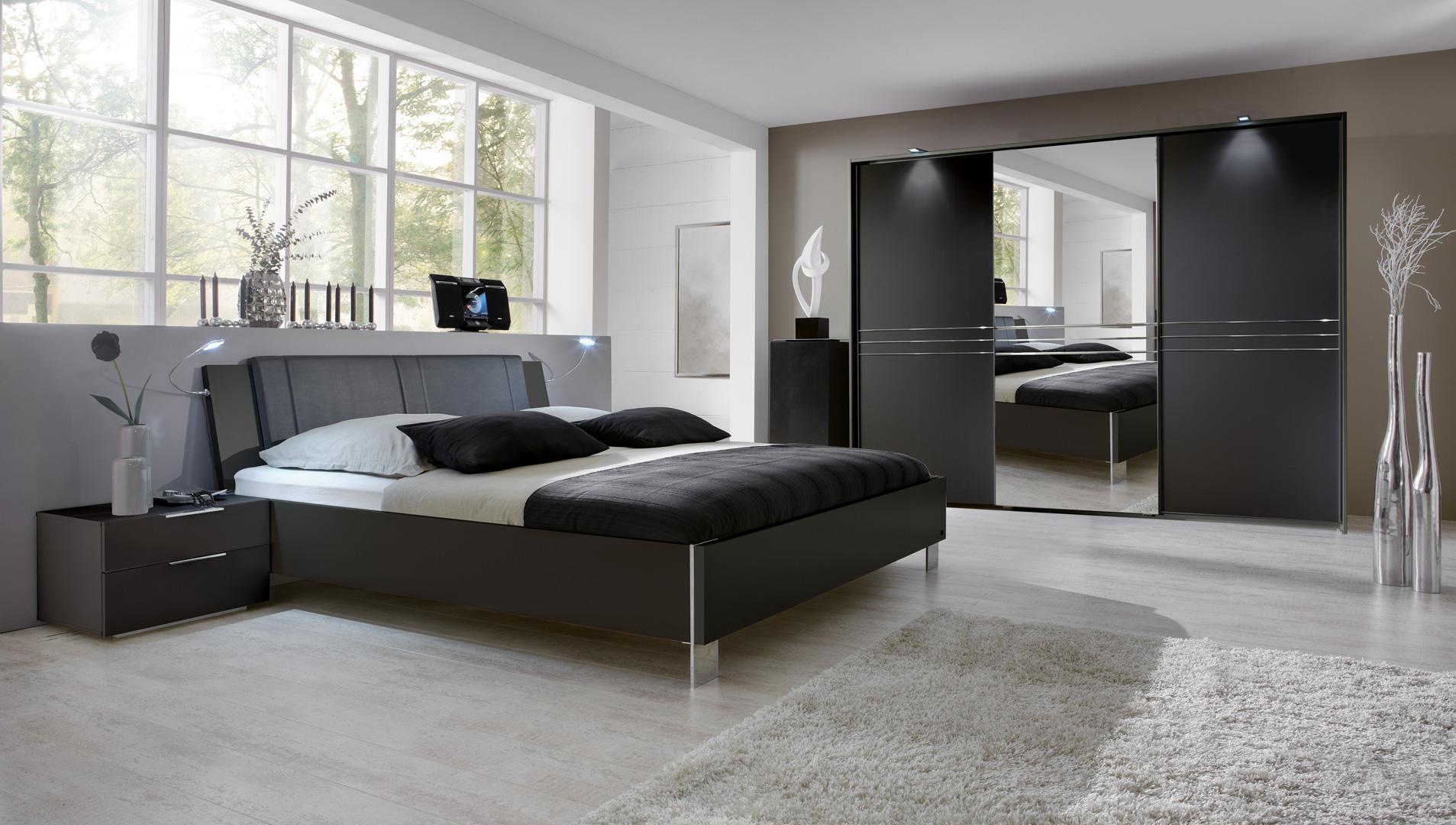 Chambre adulte design avec éclairage coloris graphite Davina