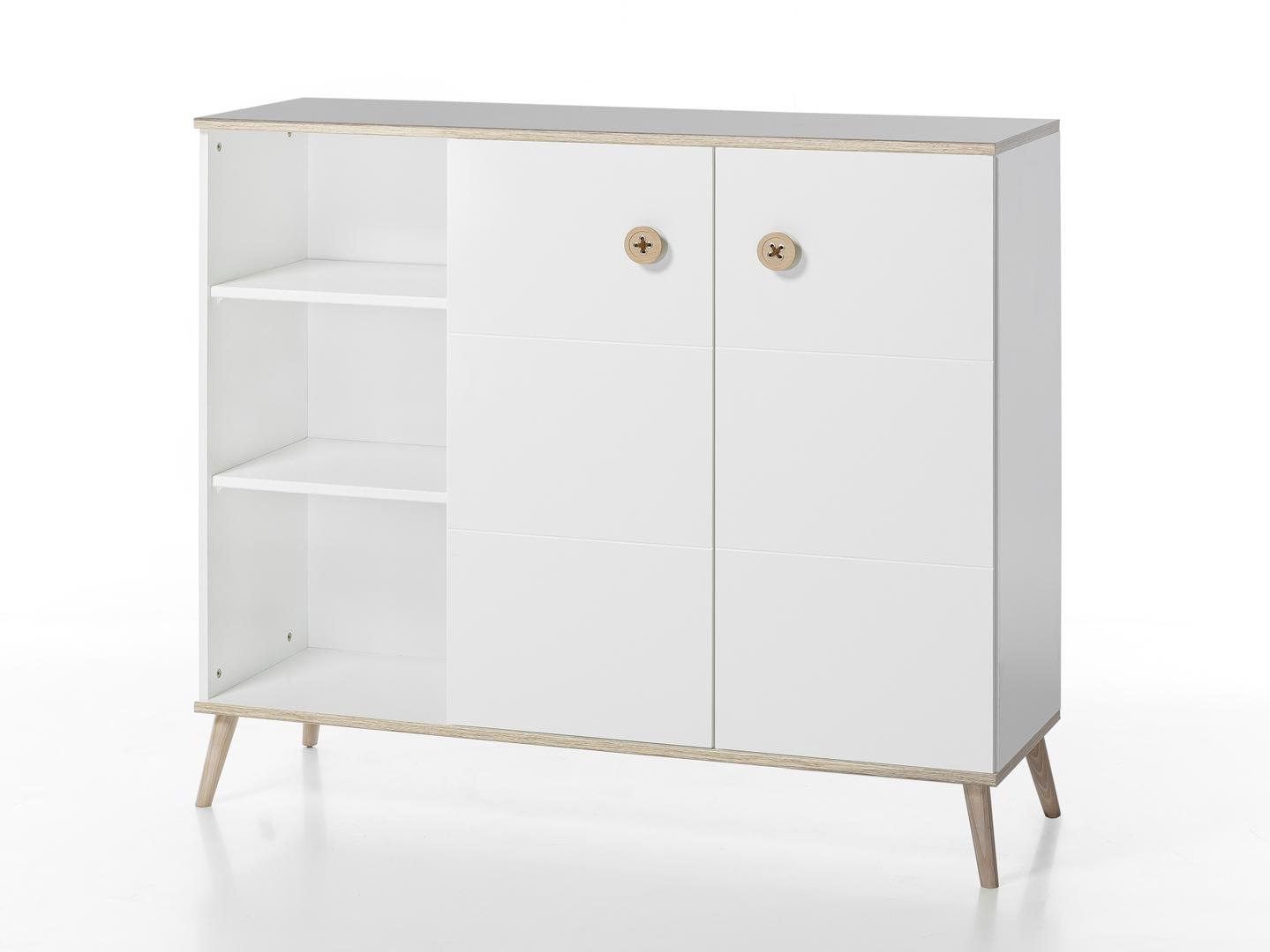 Meuble de rangement contemporain coloris blanc/chêne Jessi