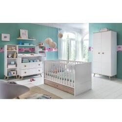 Chambre bébé scandinave blanc/chêne Jessi