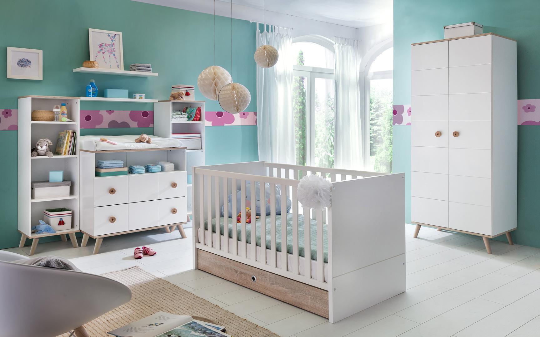 Chambre bébé contemporaine coloris blanc/chêne Jessi
