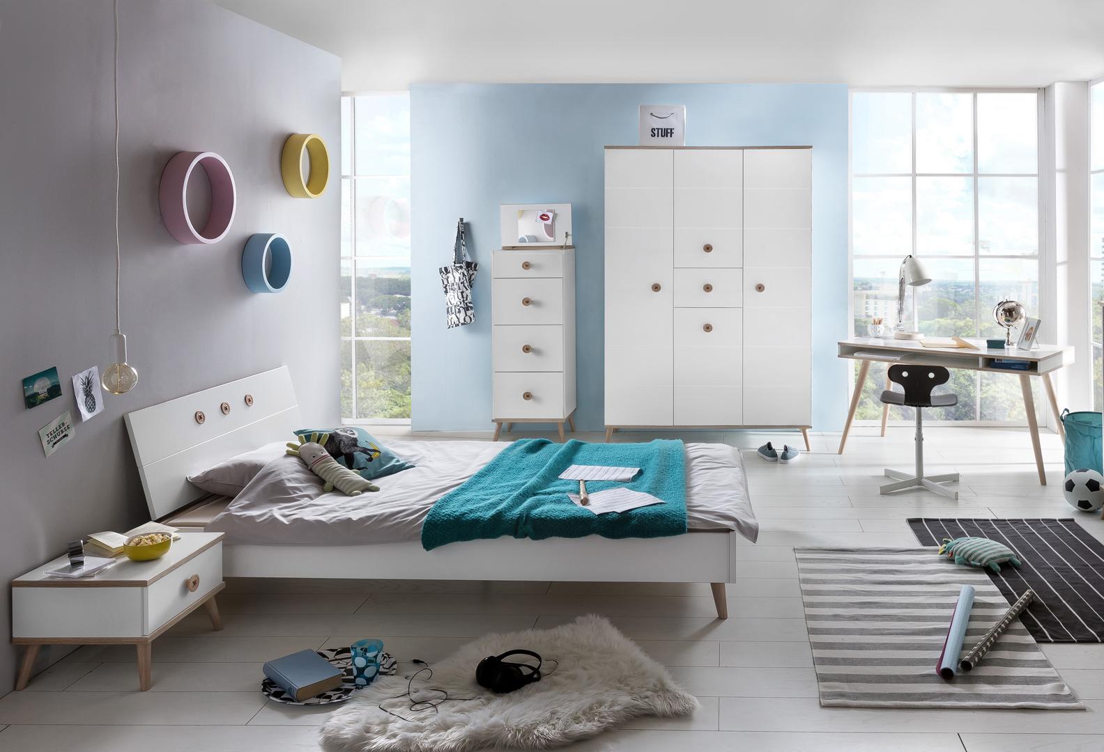 Chambre enfant contemporaine coloris blanc/chêne Jessi