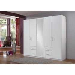 Armoire adulte contemporaine 225 cm blanche Gloria