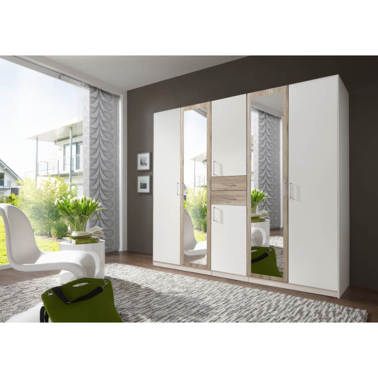 Armoire adulte contemporaine 225 cm coloris blanc/chêne Hortensia