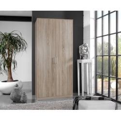 Armoire contemporaine 2 portes coloris chêne Carola