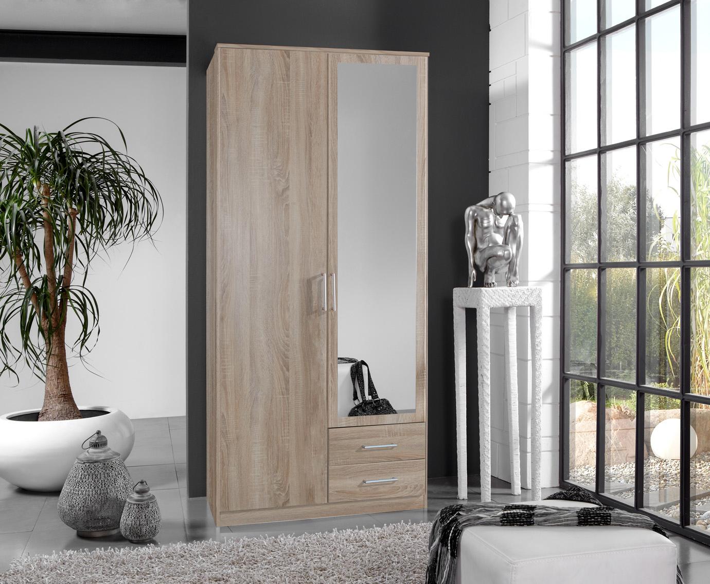 Armoire contemporaine 2 portes/2 tiroirs coloris chêne Carola