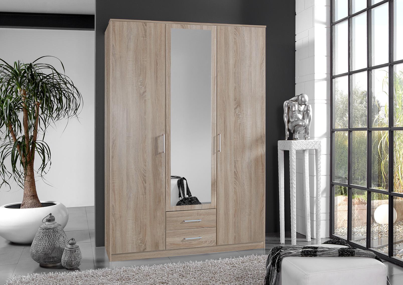 Armoire contemporaine 3 portes/2 tiroirs coloris chêne Carola