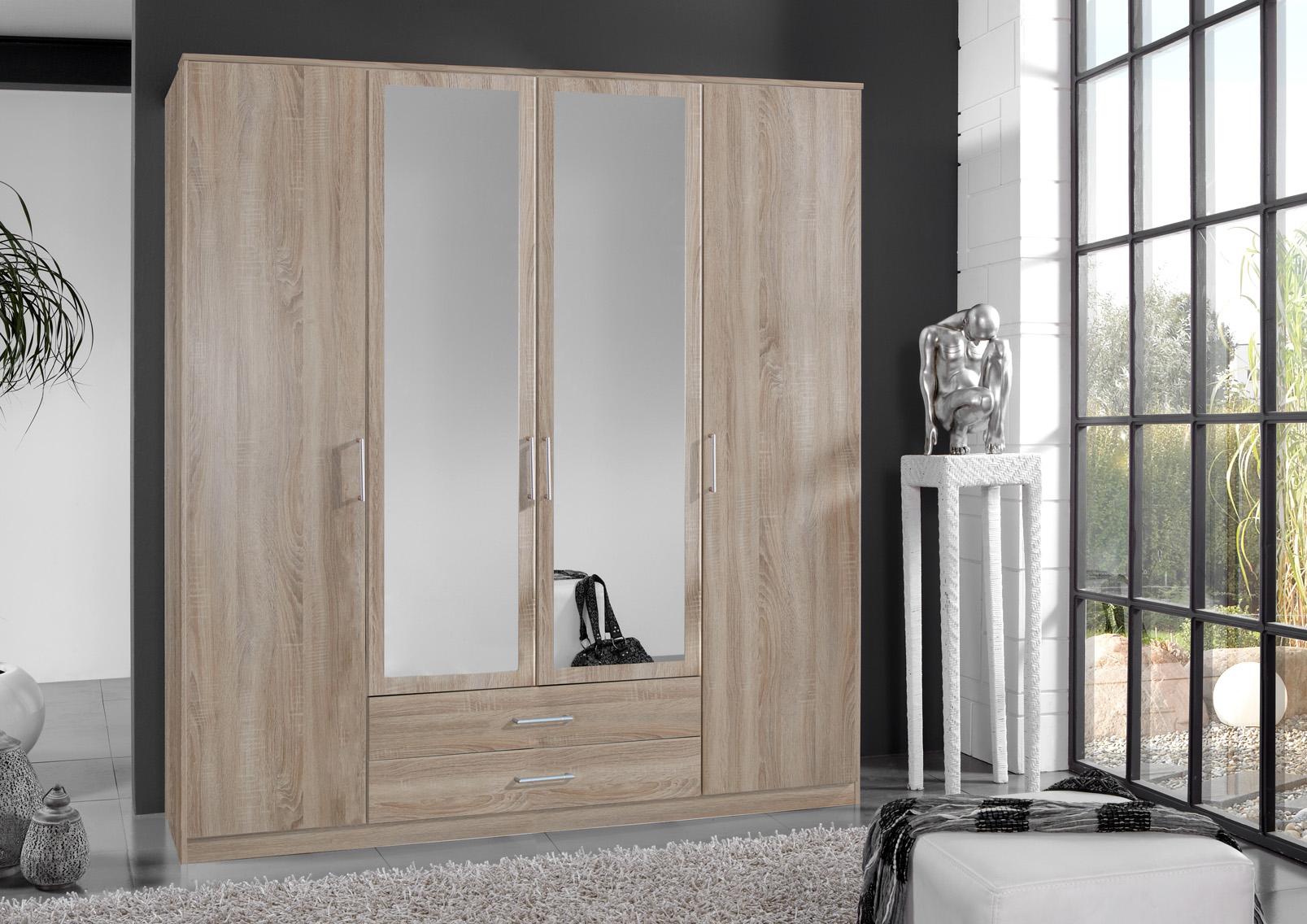 Armoire contemporaine 4 portes/2 tiroirs coloris chêne Carola