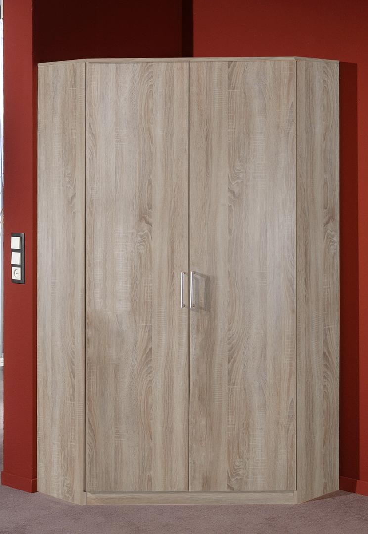 Armoire d'angle contemporaine 2 portes coloris chêne Carola