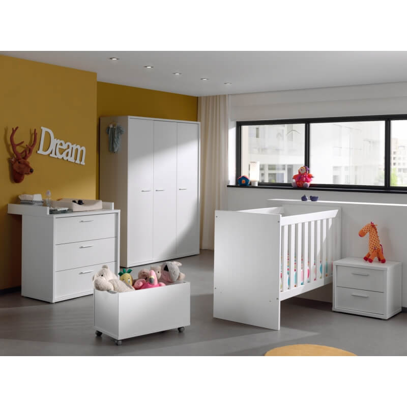 coffre jouets contemporain blanc michele matelpro. Black Bedroom Furniture Sets. Home Design Ideas