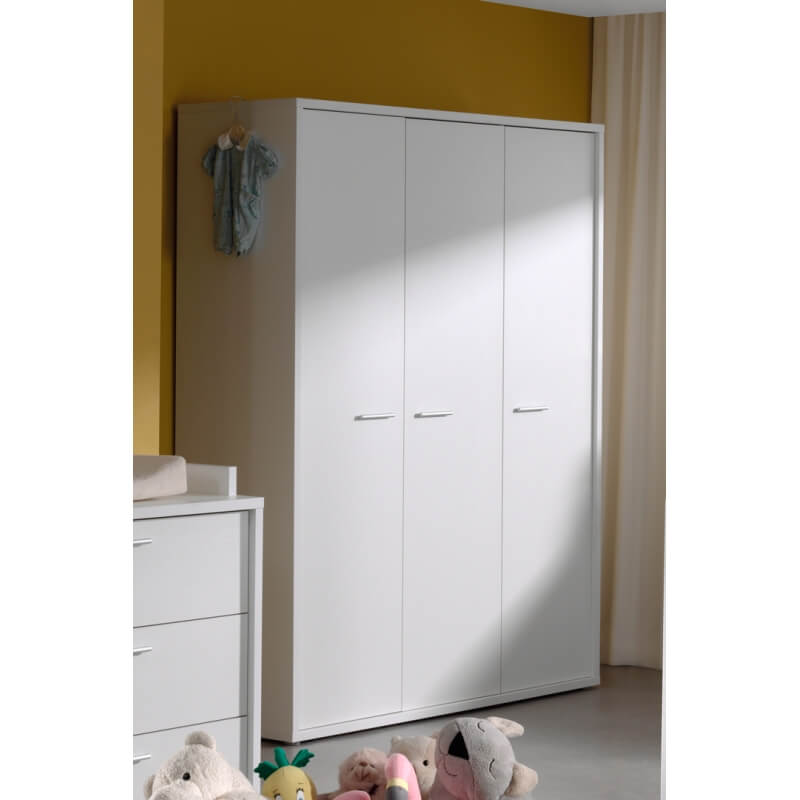 armoire enfant contemporaine 3 portes blanche michele. Black Bedroom Furniture Sets. Home Design Ideas