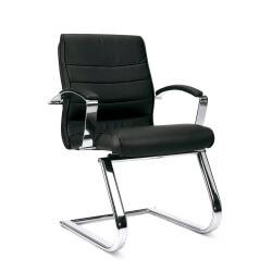 Chaise de bureau design en cuir noir Modeo