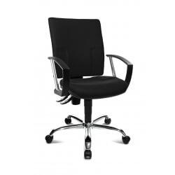 Chaise de bureau design en tissu noir Cheyenne