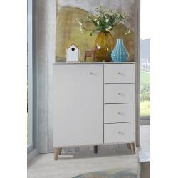 Commode contemporaine 1 porte/4 tiroirs blanc/chêne Portorico