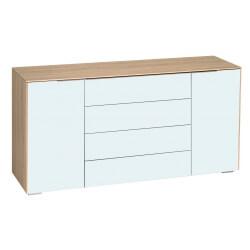 Meuble de rangement design 2 portes/4 tiroirs chêne/verre blanc mat Ivana II