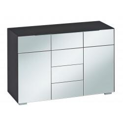 Meuble de rangement design 2 portes/6 tiroirs verre noir mat/verre gris Ivana