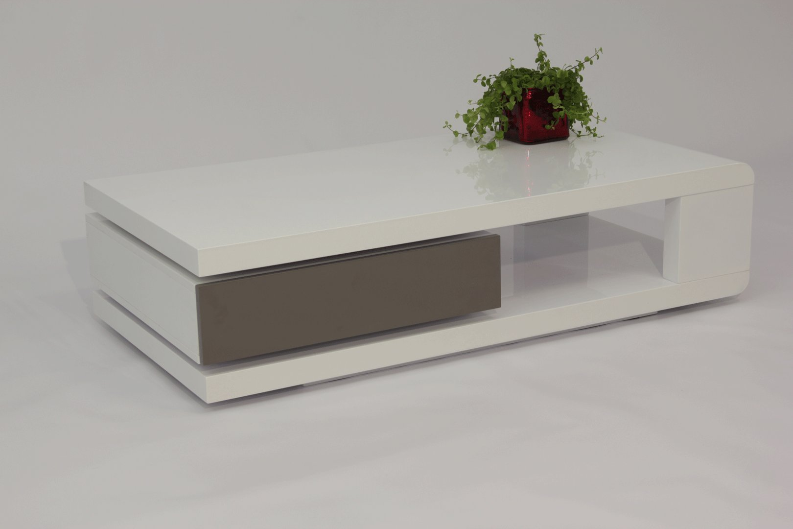 Table Basse Design Laquee Blanche Et Grise Jawa Matelpro