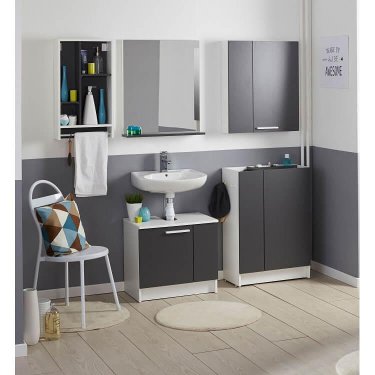 meuble haut de salle de bain contemporain blanc gris ombre angelus matelpro. Black Bedroom Furniture Sets. Home Design Ideas
