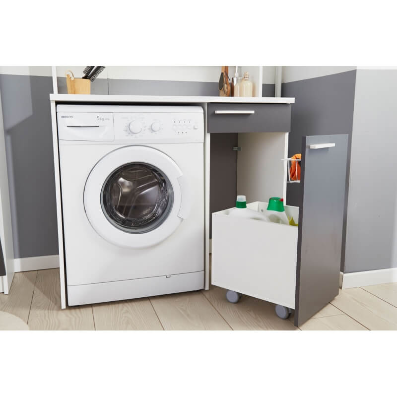 meuble de rangement pour machine à laver blancgris ombre