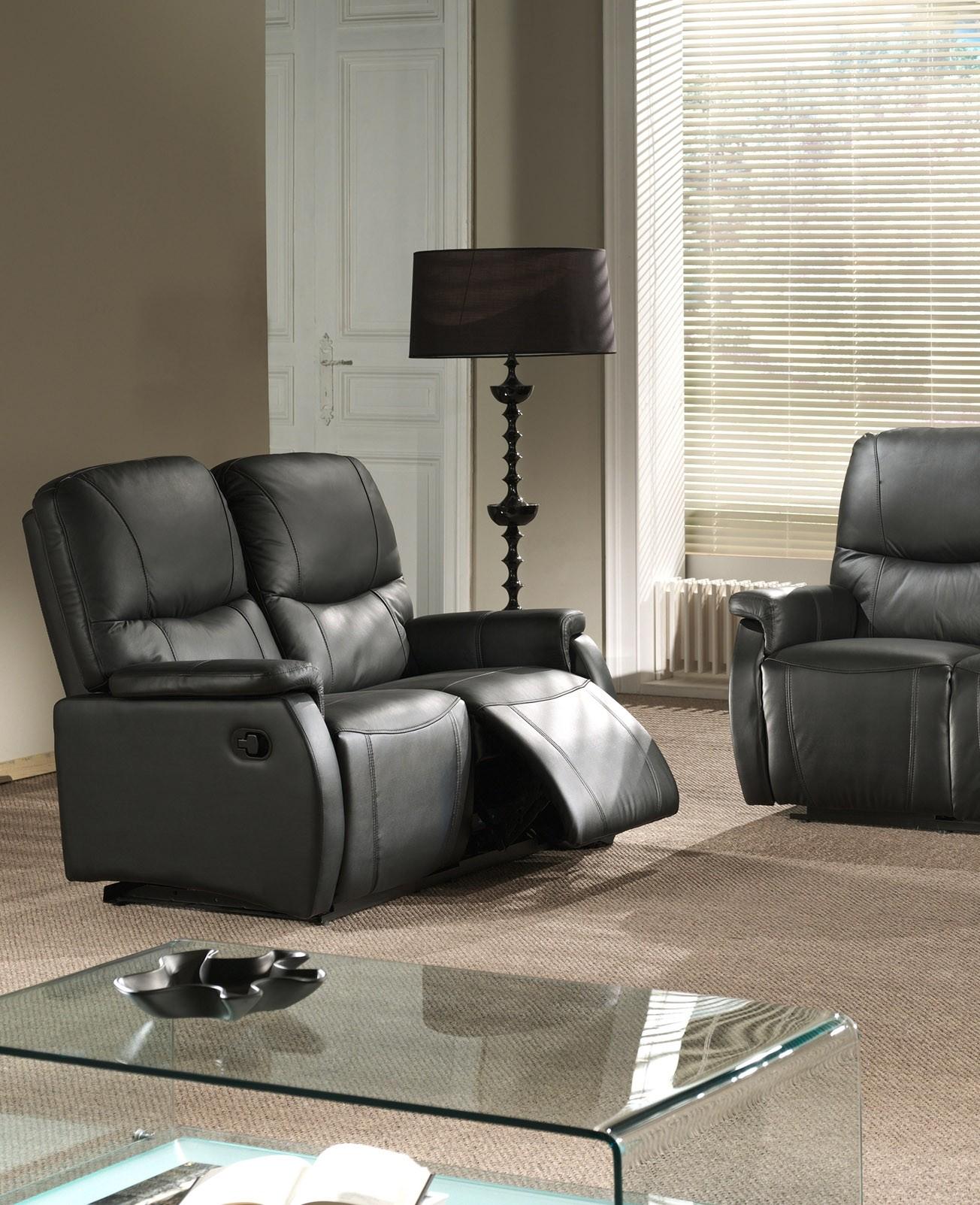 Canapé cuir 2 places 2 relax semi-automatique avec repose-pieds intégré TOSCANE