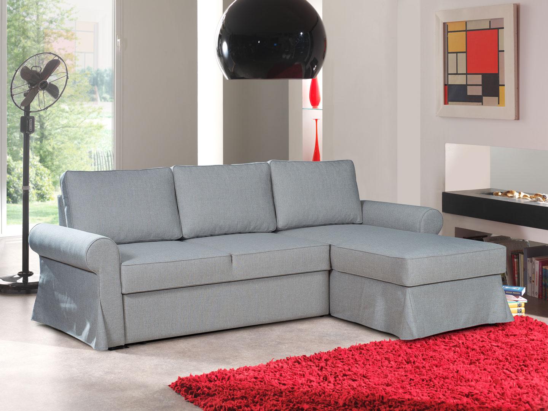 Canapé d'angle réversible convertible contemporain en tissu gris Vogue