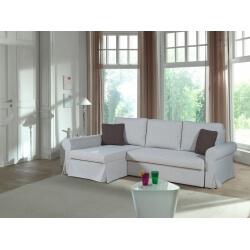 Canapé d'angle réversible convertible contemporain en tissu beige Rabelais