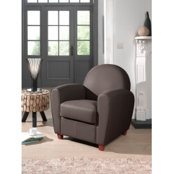 Fauteuil club contemporain en PU choco Maritza