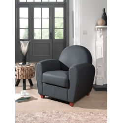 Fauteuil club contemporain en PU anthracite Maritza