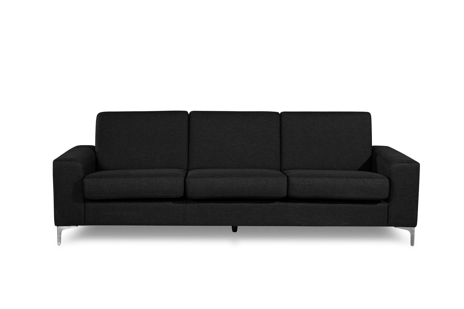 Canapé fixe 3 places contemporain en tissu noir Narcisse