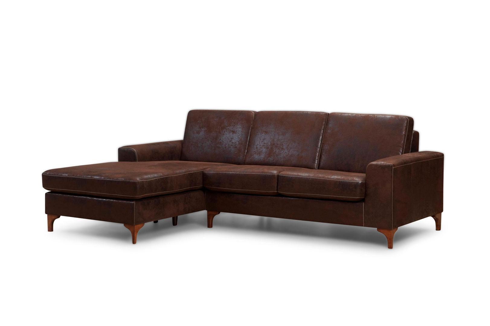 Canapé d'angle fixe contemporain en tissu marron Marcy
