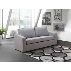 Canapé fixe 2 places contemporain en tissu gris Minerval