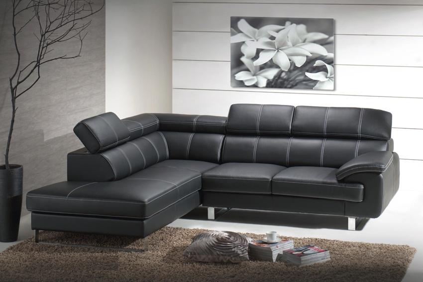 Canapé d'angle fixe cuir ALEX