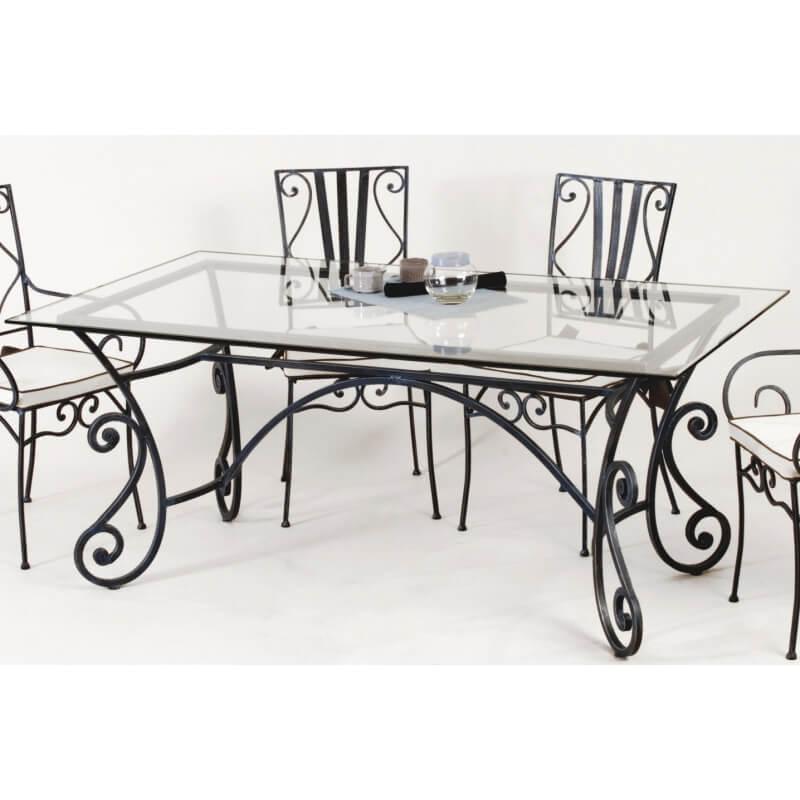 Table de salle manger rectangulaire en fer forg maryl ne for Salle a manger fer forge