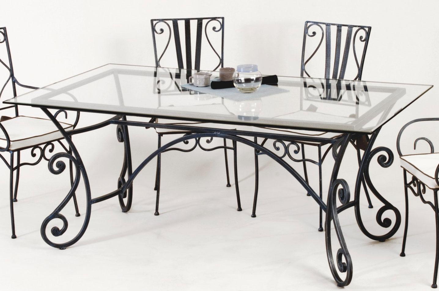 table de salle manger rectangulaire en fer forg maryl ne. Black Bedroom Furniture Sets. Home Design Ideas