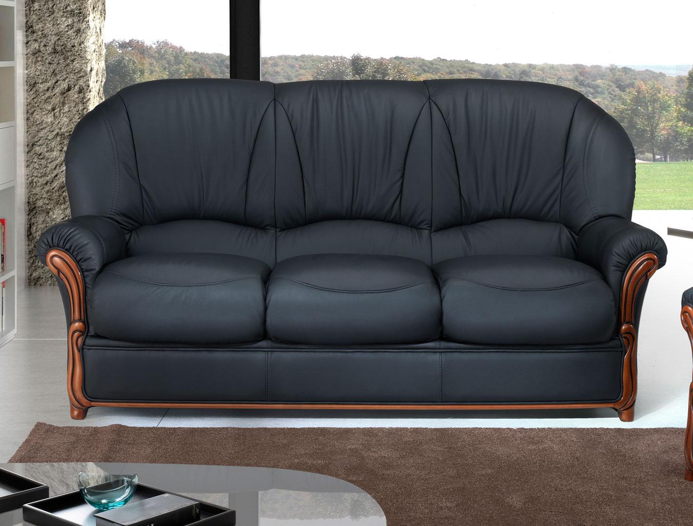 Canapé fixe 3 places contemporain en cuir noir Cobra