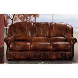 Canapé fixe 3 places contemporain en cuir marron Firmin