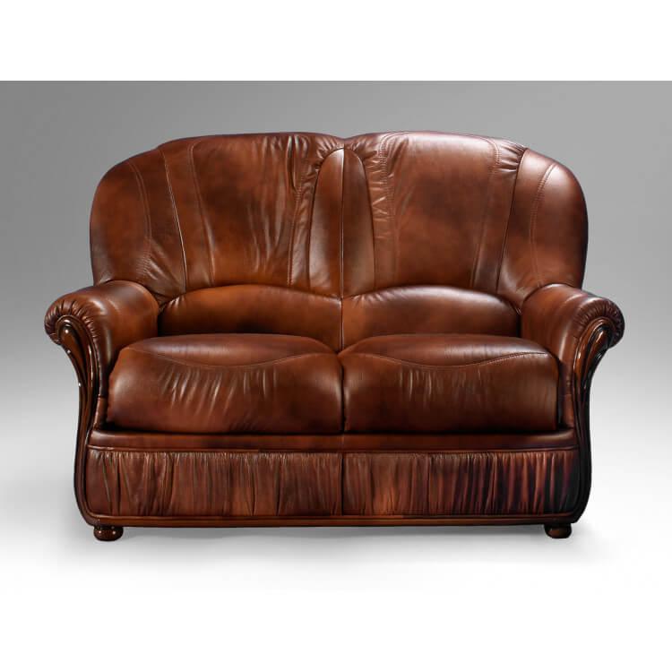 Canapé fixe 2 places contemporain en cuir marron Firmin