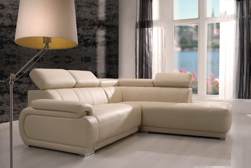 Canapé d'angle fixe cuir PANAME