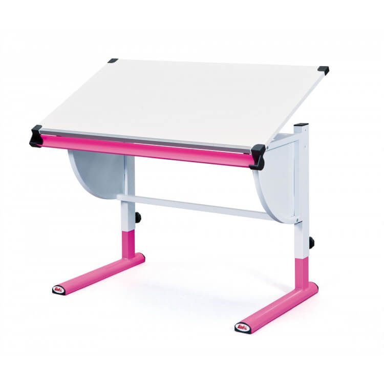 Bureau enfant contemporain inclinable blanc/rose Tetris