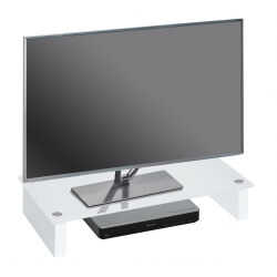 Surmeuble design pour téléviseur en verre blanc Madera
