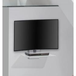 Etagère murale design pour téléviseur en métal alu/verre clair Cyriane