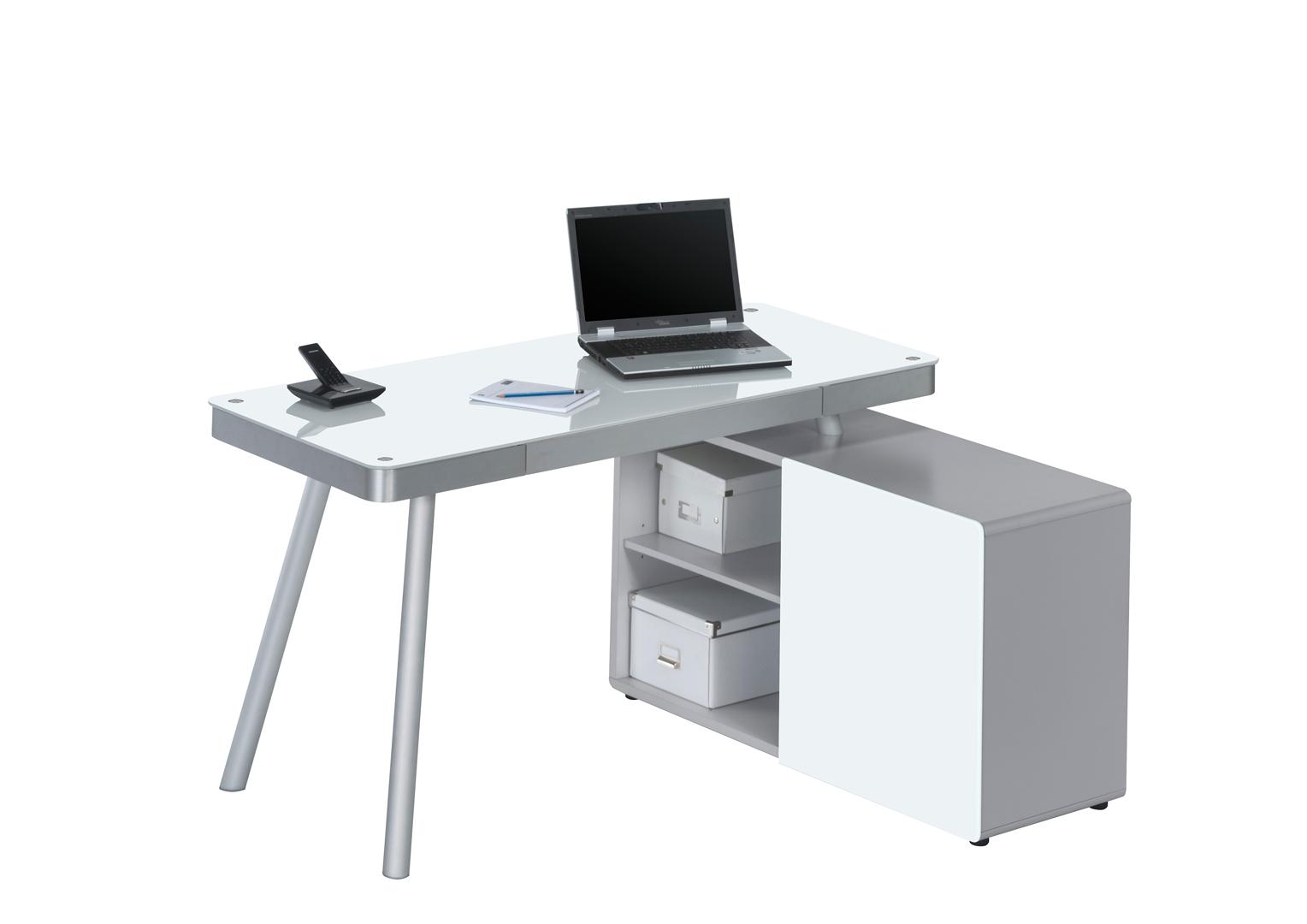 Bureau d 39 angle design en m tal alu verre blanc tessa - Bureau d angle design blanc ...
