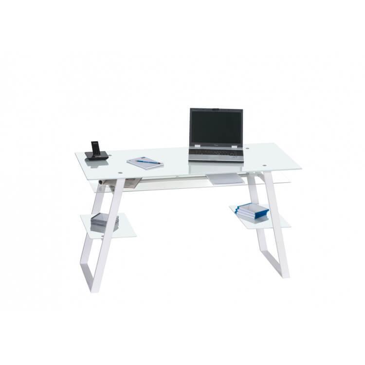 Bureau design en métal blanc/verre blanc Utopia