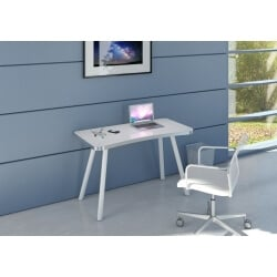 Bureau design en métal alu/verre blanc Albury