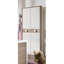 Armoire enfant contemporaine coloris blanc/chêne 2 portes Pirouette