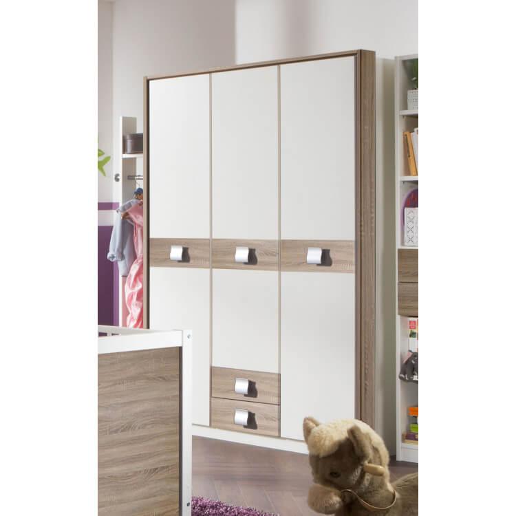 Armoire enfant contemporaine coloris blanc/chêne 3 portes Pirouette