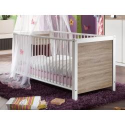 Lit bébé à barreaux contemporain coloris blanc/chêne Pirouette