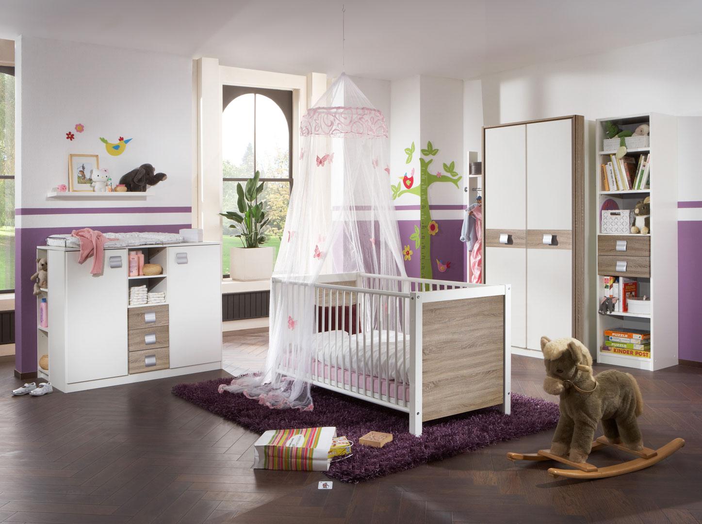 Chambre bébé contemporaine coloris blanc/chêne Pirouette